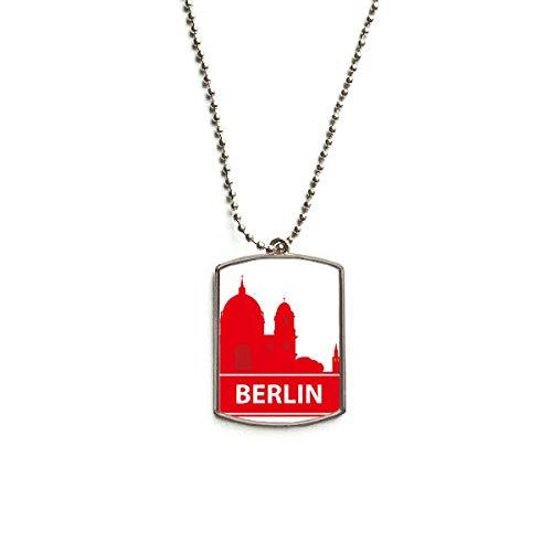 QQJSY Halskette mit Anhänger aus Edelstahl, Motiv: Berliner Deutschland, rotes Wahrzeichen