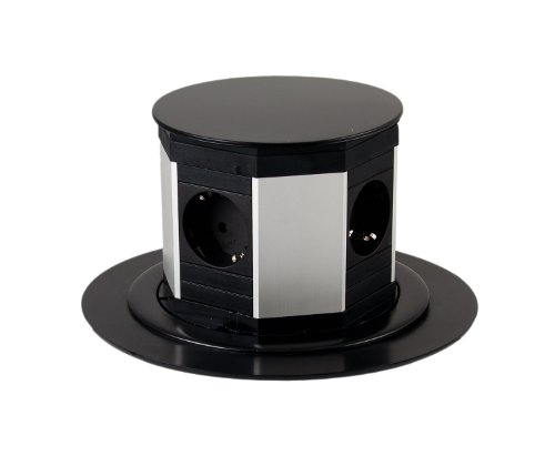 BACHMANN LIFT INTERIOR 4AC OUTLET(S) 0 5M NEGRO  PLATA BASE MULTIPLE - BASES MULTIPLES (0 5 M  NEGRO  PLATA)