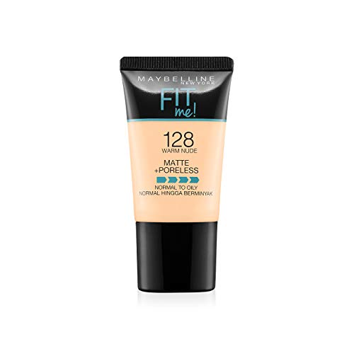 Maybelline New York Fit Me Matte+Poreless Liquid Foundation Tube, 128 Warm Nude, 18ml