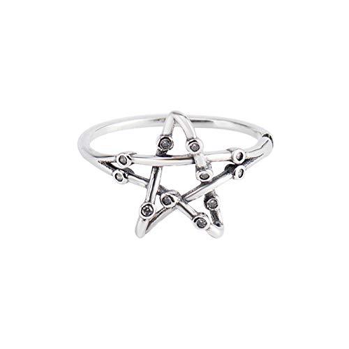 Damen 925 Sterling Silber Verstellbar Ringe,Punk Thai Silver Double Layer Chian Verstellbare Ringe Alten 925Er Sterling Silber Index Finger Ringe Für Frauen Kleine Paar