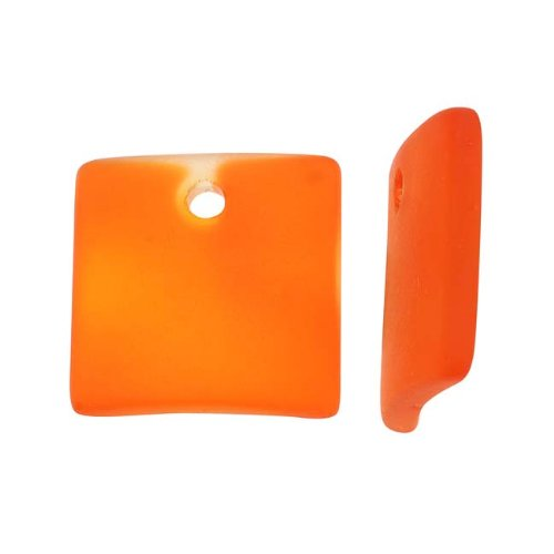 cultured-sea-glass-curved-square-pendant-beads-22x22mm-tangerine-orange-2