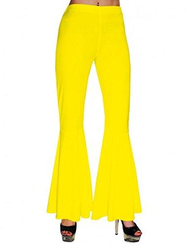 Hippie Schlaghose Damen Gelb Gr. 36 38 (70er Disco Hippie Hose Kostüm)