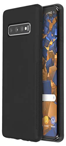 mumbi double Grip Hülle kompatibel mit Samsung Galaxy S10, griffige Schutzhülle schwarz
