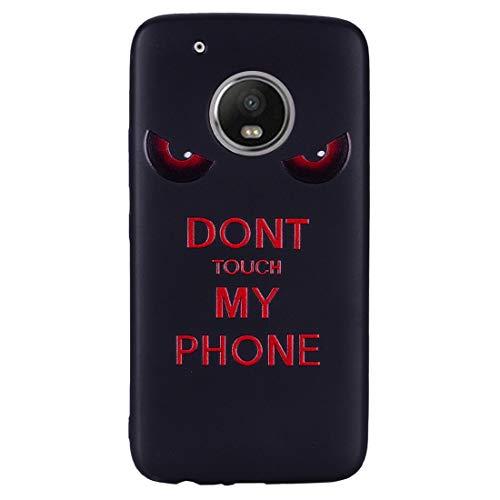 Chreey Hülle für Motorola Moto G5 Plus, Anti-kratzt Schwarz 3D Drucken Muster Handyhülle Weiche Silikon TPU Rückseitehülle Bumper Schutzhülle, Don't Touch My Phone