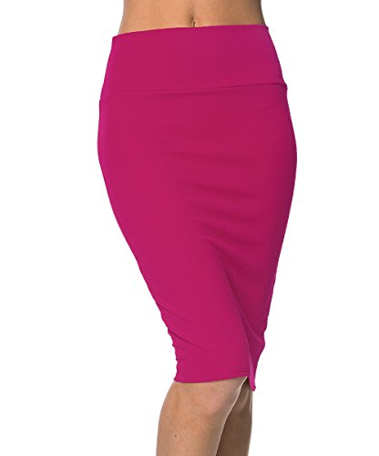 Urbancoco Damen Bleistift Rock Kurz Hohe taille Stretch Business Rock (S, hot pink)