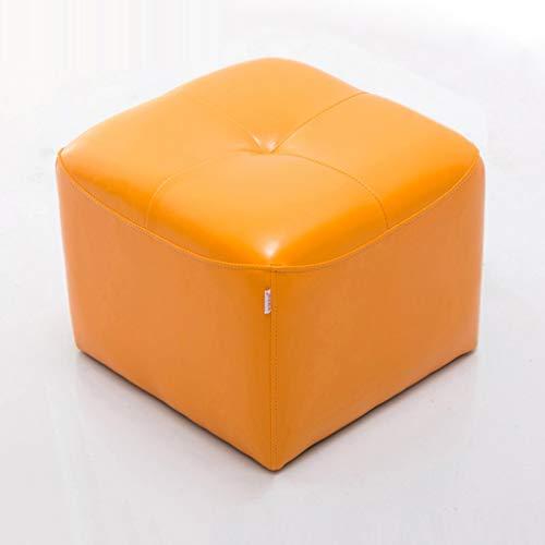 Petit Tabouret En Cuir Canapé Tabouret Moderne Simple Tabouret Changement Chaussure Banc Maison Salon Chambre Table Basse Dressing Vêtements Tabouret (Couleur : Orange)