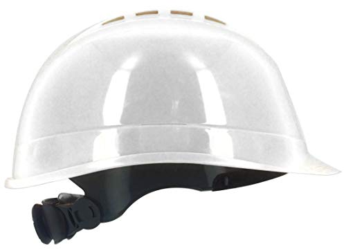 Silent SL1470 Casco de Seguridad Industrial, Casco de construcción rígido, ventilado, arnés de 6 Puntos, Certificado EN 397 y A1, Blanco