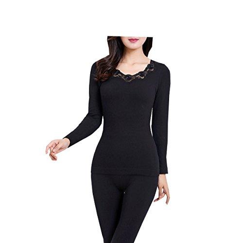 Tang moine Damen- Nahtlos Körper Stickerei Unterwäsche Set,Black | 05281816682016