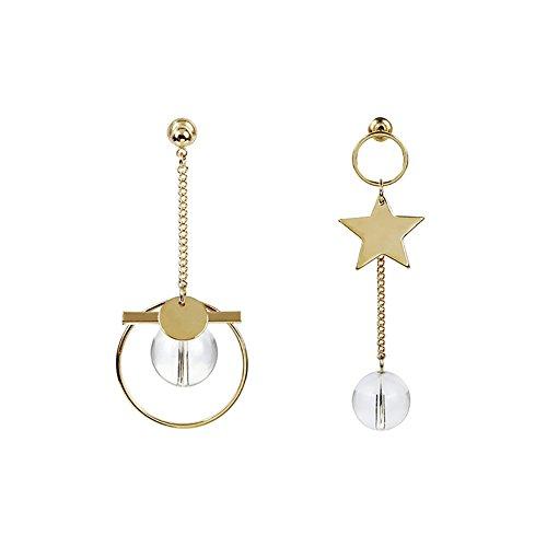 Sanwood Abendgesellschaft Wild Ring Lange Ohrringe Asymmetrische Fünfzackigen Stern Transparente Kristallkugel Ohrringe Frauen Schmuck Golden