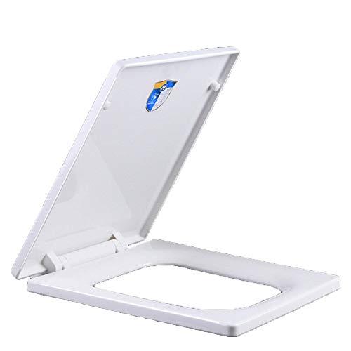 MXYXN Weißer Quadratischer Soft-Close-WC-Sitz Lösen Schnellbefestigung UF Antibakterieller Schnellverschluss mit Langsam Schließenden Scharnieren Verstellbarer Bad-WC-Decke