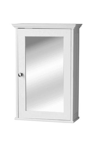 Premier Housewares - Armario de pared con puerta de espejo y tirador plateado, 34 x 15 x 53cm, color blanco