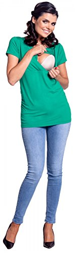 Zeta Ville - Damen Zweilagiges Still T-Shirt Top für Schwangere Kurzarm - 790c Teal