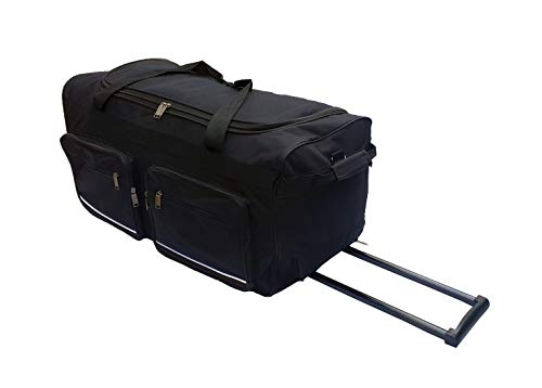 Borsa da viaggio morbida valigia sportiva trolley grande con ruote. Taglia L-100L, XL-115L, XXL-150L,   XXXL-200L. Nero e Blu (Nero, 100L)