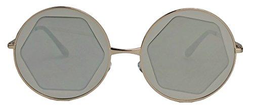 Große runde Damen Sonnenbrille Hexagon Lens Festival Blogger Style M306 (Gold / Silber verspiegelt)