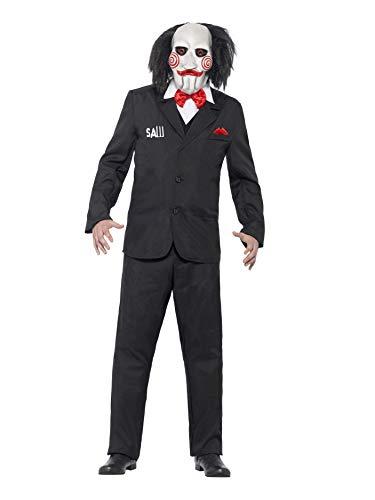 Smiffys, Herren Jigsaw Kostüm, Maske, Jacke mit angesetzter Weste und Hemd, Saw, Größe: L, 20493