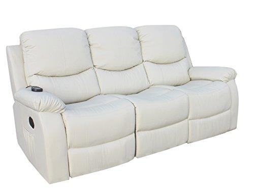 ECO-DE Sofa 3 plazas beige con masaje