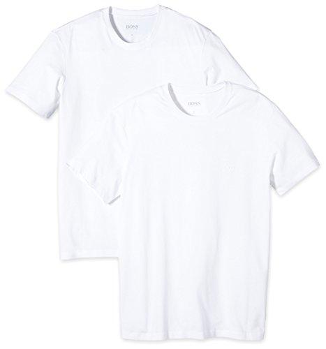 BOSS Hugo Boss Herren T-Shirt Shirt SS RN 2P BM 10111875 01, 2er Pack, Einfarbig, Gr. Medium, Weiß (White 100)