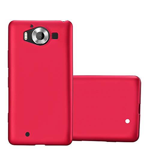 Cadorabo Hülle für Nokia Lumia 950 - Hülle in METALLIC ROT – Handyhülle aus TPU Silikon im Matt Metallic Design - Silikonhülle Schutzhülle Ultra Slim Soft Back Cover Case Bumper