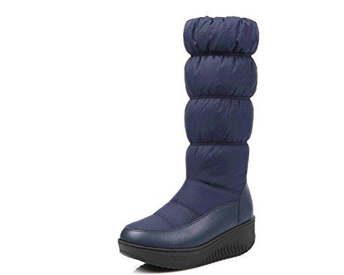 JOYORUN Damen Winterstiefel Snowboots mit Warmfutter Blau