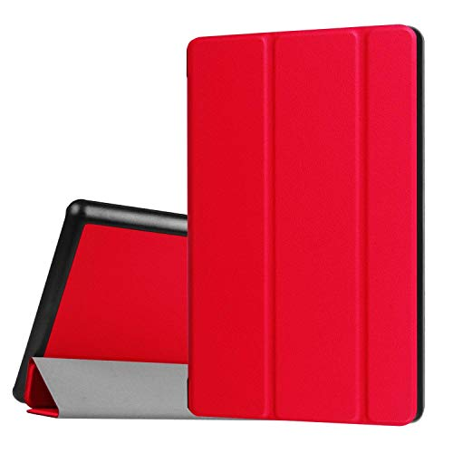 zonefoker Alle Neuen HD 7Tablet Case (7. Generation, veröffentlicht 2017Nur), [Auto Sleep/Wake] Slim Leicht Custom Premium PU Leder Tablets Fällen #3-Red