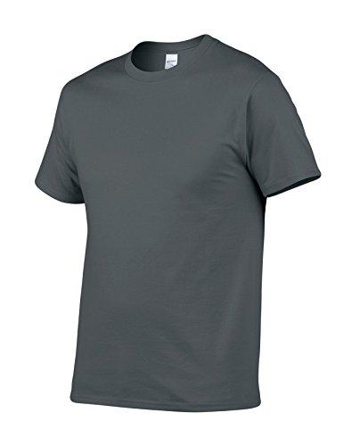 Legou Herren T-Shirt Kurzarm Baumwolle Tee Solide Farbe Basic Tee Dunkel Grau