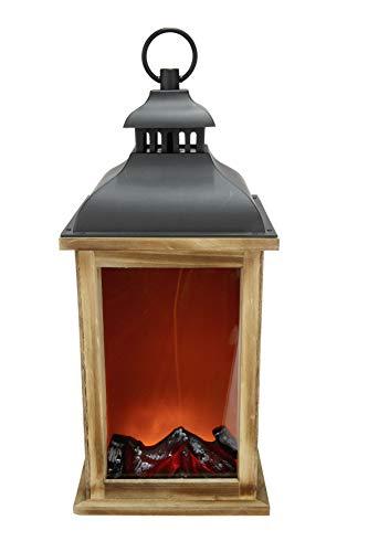 GILDE Laterne - aus Holz - Kamin-Optik mit Stromadapter und Batteriefach H 44 cm