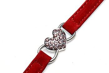 DAIXI Colliers De Chat avec Breloque Coeur Et Cristal en Cristal Bling Fournitures pour Animaux De Compagnie Rouge