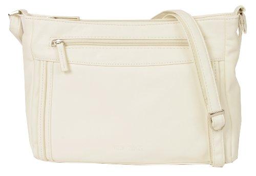 NEW BAGS NB1402 Schultertasche Umhängetasche M unifarben mit abgesetzten Nähten auf der Front Kunstleder (28cmx20cmx6,5cm) Weiß