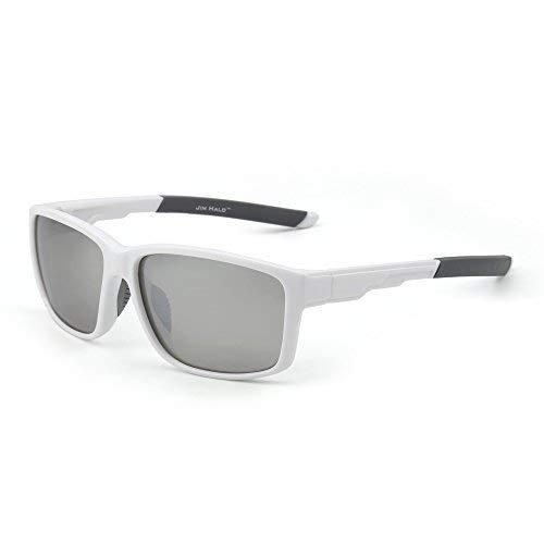 JIM HALO Polarisiert Sport Sonnenbrille Spiegel Wrap Around Fahren Angeln Damen Herren(Weiß/Silber)
