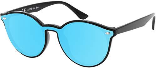 La Optica B.L.M. UV400 CAT 3 CE Damen Frauen Sonnenbrille Rund Round Monoscheibe - Einzelpack Glänzend Schwarz (Gläser: Hellblau verspiegelt)