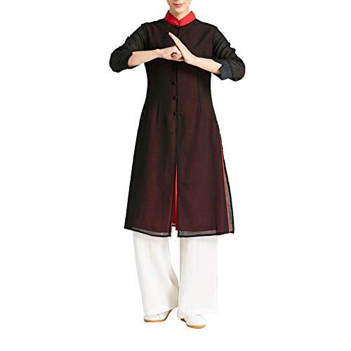 ZZUU Chinesische traditionelle Kostüme - chinesische Tai Chi, Yoga, Leinentüll,Weiblicher Trainingsanzug,C,XL (Traditionelle Kostüm)