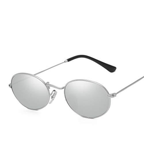 Sonnenbrille Kleine Ovale Sonnenbrille Frauen Retro Hochwertige Vintage Damen Metall Silber Dampf Sonnenbrille Männer