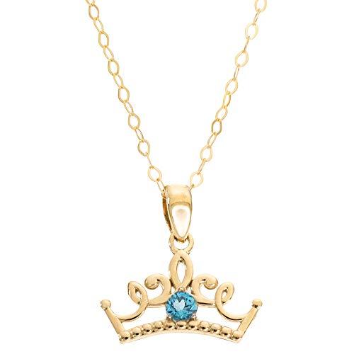 Cinderella Teenager Kostüm - Disney Princess Jewellery Halskette mit Anhänger 14 Karat Gelbgold Blautopas 40,6 cm Kette Mickey 's 90. Geburtstag Jahrestag