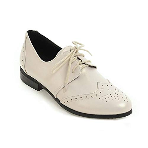 Zapatos Oxford de Silla de Montar Planas para Mujer Punta de ala con Cordones Perforados Tacón bajo...