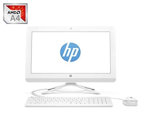 HP 20 -c406ns - All in One - Ordenador de sobremesa 19.5' FullHD (AMD A4-9125, 4GB RAM, 1TB HDD, AMD Radeon R3, Sin sistema operativo), Color Blanco - Teclado QWERTY Español y ratón