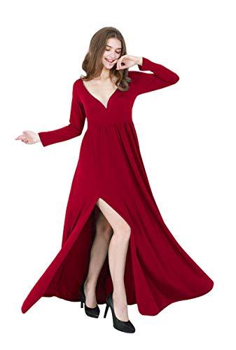 YMING Damen Kleid Langarm Maxi Kleid mit V Ausschnitt Empire Taille Kleid Rot,S