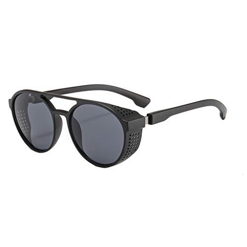 fazry Damen Mode Katzenauge Runder Rahmen Sonnenbrillen Vintage Brille(Grau)