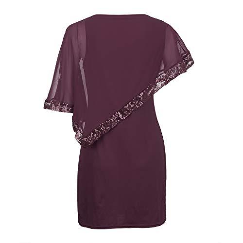 JUSTSELL Kleid Schwarz Kleid Festlich Rundes Kragen Kurze Kleid Mit Pailletten Shawl Dress Transparent Spitze Ärmel Cocktailkleid Abendkleid Grosse Grössen