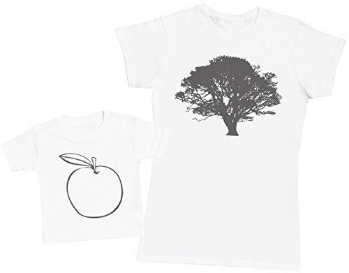 Zarlivia Clothing Apple and Tree - Ensemble Mère Bébé Cadeau - Femme T Shirt & bébé T-Shirt - Blanc - XL & 1-2 Ans