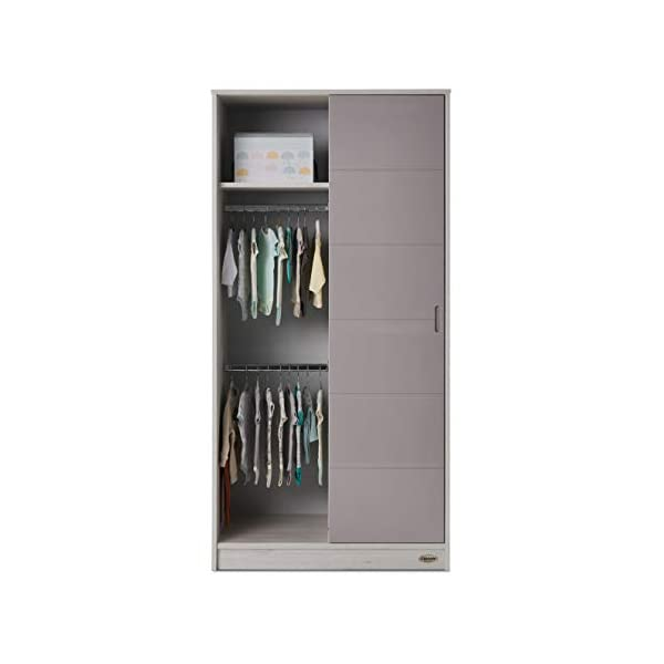 Obaby Madrid Double Wardrobe, Lunar Obaby One side offers two hanging rails and one fixed shelf The other side offers 6 deep fixed shelves Gloss sliding door is reversible and offers easy access to both sides 4
