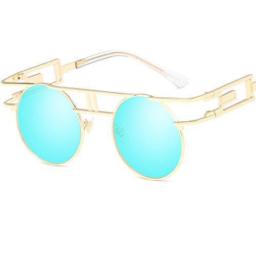 LANOMI Retro Sonnenbrille Rund Vintage Gothic Steampunk Metallrahmen Damen Herren Verspiegelt Brillen UV400 (Golden Rahmen mit blauen Linsen)