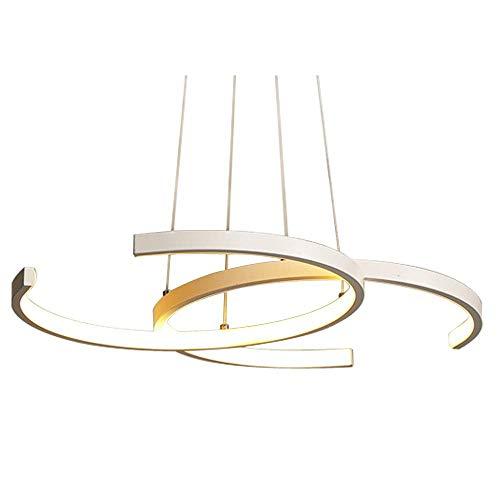 Kronleuchter Deckenleuchte Einfache Moderne Runde 2 Ring Design Dimmbar Mit Fernbedienung LED Anhänger Hängelampe Für Tisch Haus Top Wohnzimmer Schlafzimmer Flur,White - Runde-tisch-kronleuchter