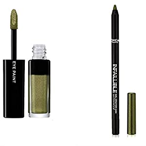 L'Oréal Paris Color Riche Sombra de Ojos/ombrés S6 Jungle Jade + lápiz Khol & contour mineral Bourjois, color 03 verde espuma (kit de 2 productos)