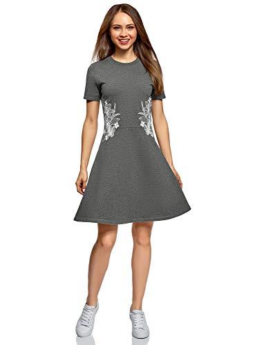 oodji Ultra Damen Tailliertes Kleid mit Reißverschluss und Stickerei, Grau, DE 42 / EU 44 / XL -