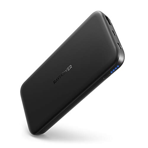 RAVPower Powerbank 10000mAh USB C PD 18W Quick Charge Input & Output Externe Akku für iPhone X/XS Max/XR, Galaxy S9 / S8, iPad Pro 2018 und andere Smartphone Tablet