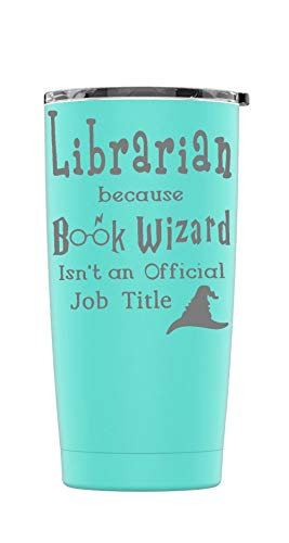 Stainless Steel Powder Coated Librarian Book Wizard Tumbler Splash Proof Lid 2 Straws*, Triple Wall Vacuum Insulated, Mug Coffee Cup Travel, Camping, Work, Gym Hot Cold Drinks (Teal, 20oz) Wall Insulated Travel Mug