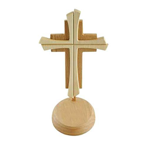 kruzifix24 Devotionalien Stehkreuz Standkreuz Holz 2-farbig gebeizt ohne Körper 24 x 14 cm Altarkreuz für Zuhause Pflegeheim Unterweg - Sterbekreuz für Hospitz