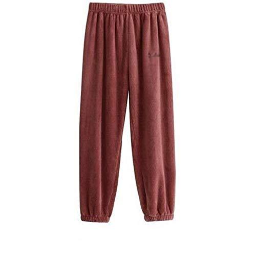 NA 2 STÜCKE Frauen Pyjamas Sets Korallen Samt Anzug Flanell Hoodie Nachtwäsche Homewear Hosen-ROT Einheitsgrösse