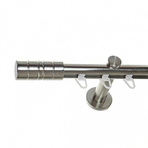 Innenlauf Gardinenstange Edelstahl Look 20mm Wandträger 1-läufig Zylinder, Länge wählbar H30 E34, Länge:160 cm