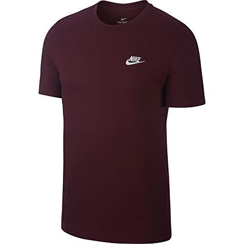 Nike Herren M NSW Club Tee Hemd, Kastanienbraun/weiß (Night Maroon/White), S -